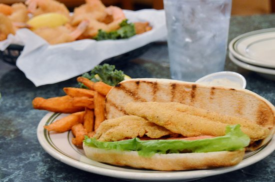 Marble Falls, TX: The Catfish Po-Boy is a top seller for lunch