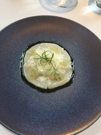 The Ledbury: Ceviche of scallops, seaweed, wasabi
