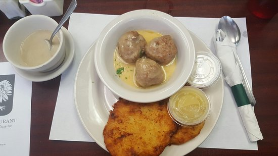 Melvindale, MI: Lunch special: Meatballs and Potato Pancakes with applesauce and sour cream