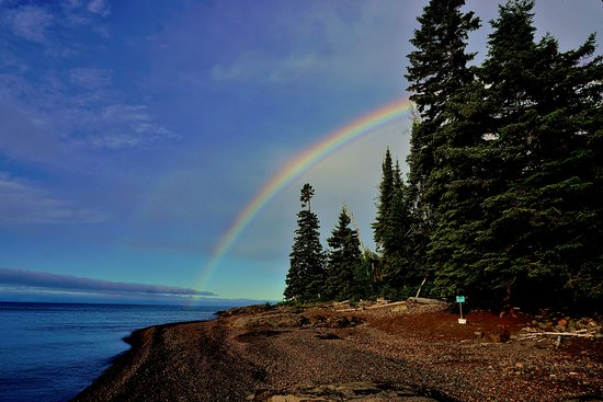 Silver Bay, MN: double rainbow on the other side of the cove