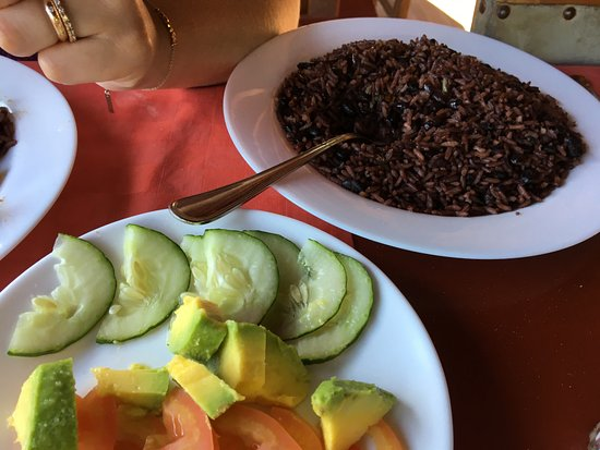 La Campana: Salad, and rice with black peas