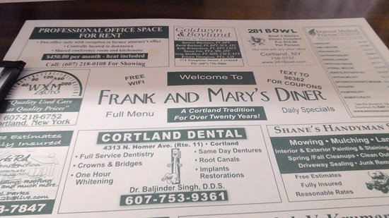 Frank & Mary's Diner: Place mat
