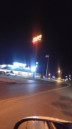 Ardmore, OK: Prairie's Neon Marquis and restuarant at night