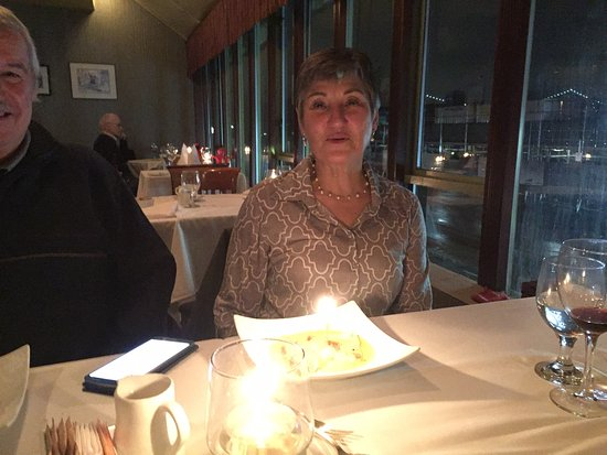 West Vancouver, Canada: Birthday Girl with candle in her Crepe Suzette