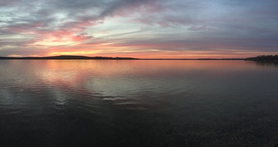 Grayling, MI: Fall sunset on Lake Margrethe