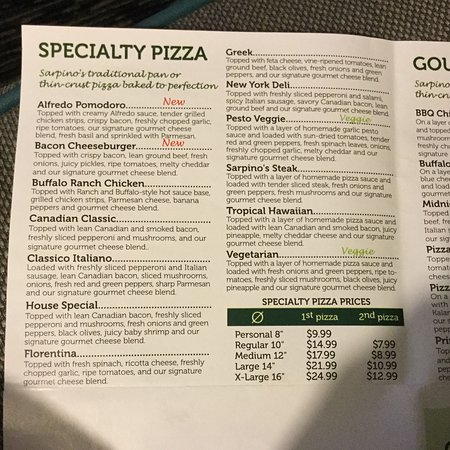 Menu Sample - Picture Of Sarpino'S Pizzeria Fort Lauderdale, Fort