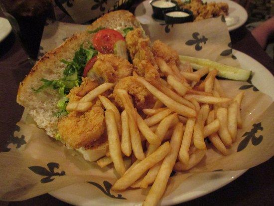 Morgan City, LA: Shrimp po'boy with fries