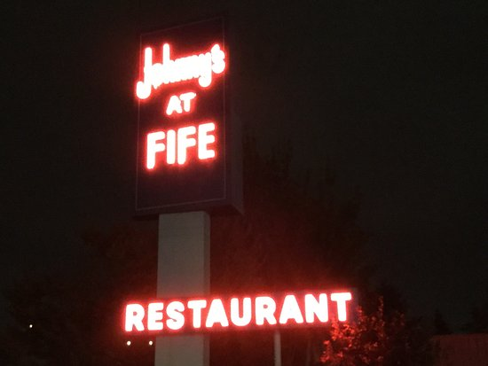 Johnnys At Fife at night.