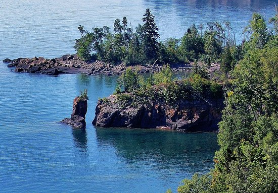Silver Bay, MN: Arch Rock after the collapse of the arch