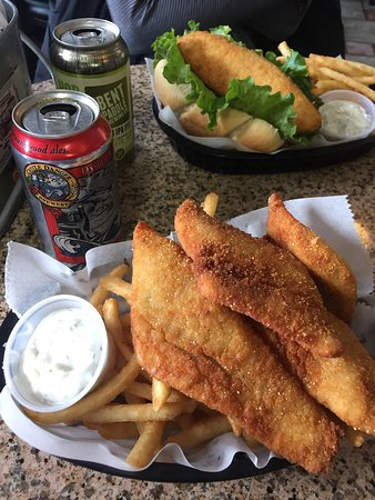 Grand Marais, MN: Walleye fish and chips paired with a Castle Danger Brewery Danger Ale. Everything was amazing.