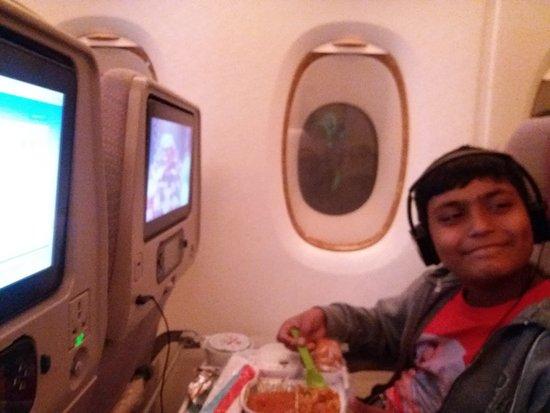 My Son Enjoying Kids Meal & Angry Bird Movie onboard