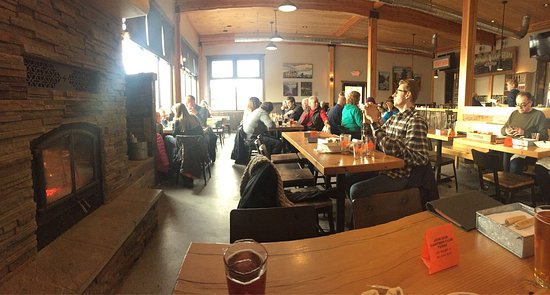 """Grand Marais, MN: Very warm and inviting tap room with that """"up north"""" feel."""