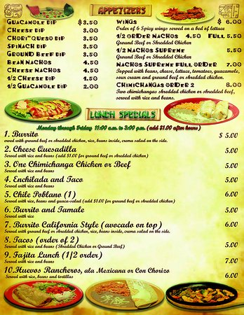 the salsas restaurant menu 2