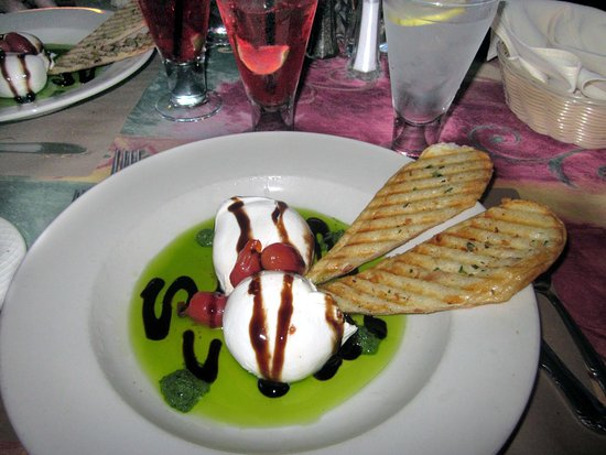 Bristol, PA: Burrata & Confit Tomatoes with Pesto Olive Oil & Balsamic Reduction