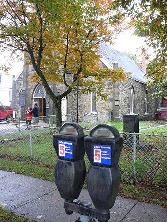 St. George's Anglican Church & Graveyard : Parking meters outside St. George's Anglican Church
