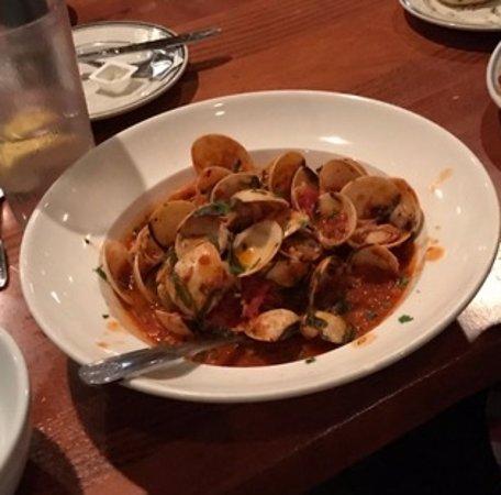 "Mamma Mia: ""Clams on the Shell"" - a dozen littlenecks steamed with garlic, wine parsley and marinara"