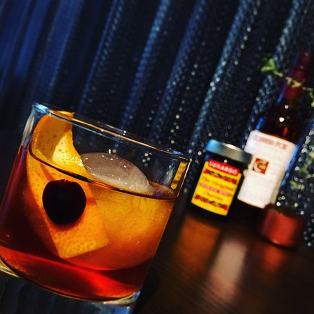 Unfashioned - Copper Fox Rye whisky, Orange rosemary simple, tabasco