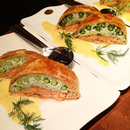Pottstown, PA: Salmon with a Dilled Scallop Mousseline with Asparagus in a Buttery Crust