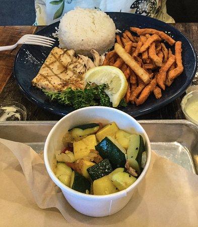 Aliso Viejo, CA: Mahi Mahi Plate with Rice, Sauteed Veggies, and Sweet Potato Fries