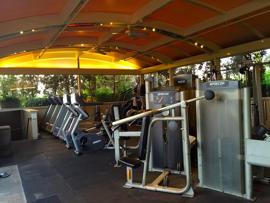 Outdoor gym area at four seasons hotel los angeles at beverly