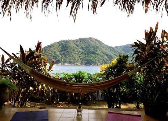 El Jardin Yelapa: View from the common room (which includes kitchen, tables, couches, and hammocks).