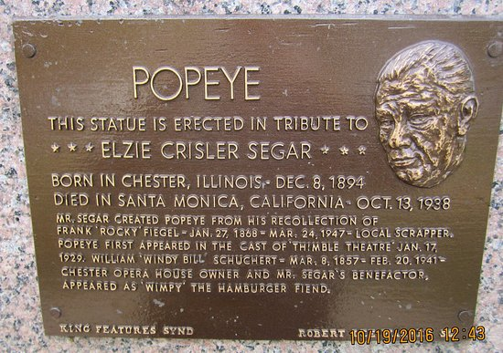 Chester, IL: Plaque honoring E C. Segar, creator of Popeye