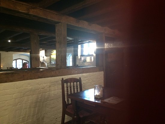 Harnham, UK: The breakfast room with mill race in foreground