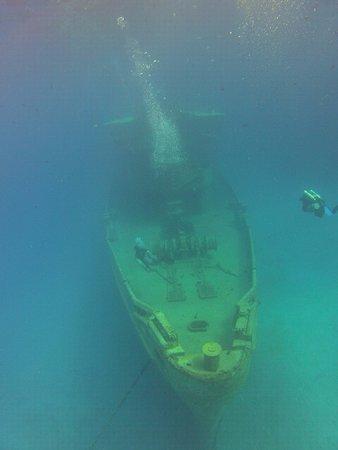 Kittiwake Shipwreck & Artificial Reef: Vista da proa na descida pro naufrágio!