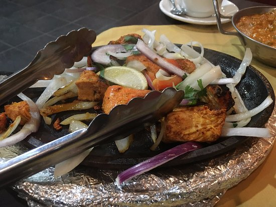 Marietta, GA: Chicken tandori style kabob with ginger, yogurt, onions, and other spices (excellent!)
