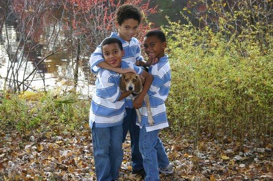 Burke, VA: My boys with our dog.