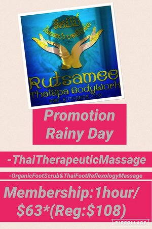 San Rafael, كاليفورنيا: Rainy Day Special Promotion 1hour/$63* (REG:$108) -Thai Therapeutic Massage -Organic Foot Refleo