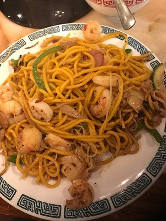 Charlie's Mongolian Barbecue: Lo Mein, shrimp, green peppers, chicken, and vegetables.