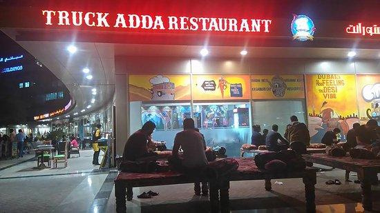 truck adda restaurant the front of the adda