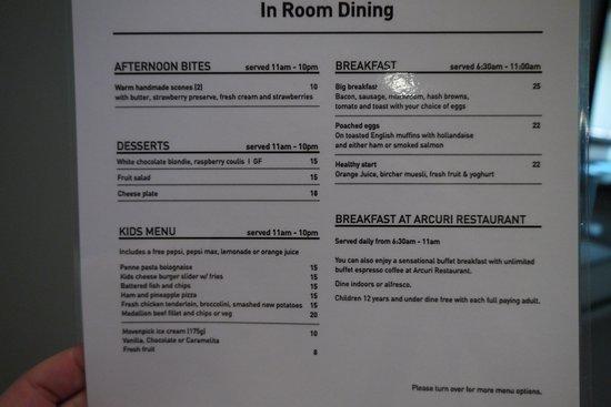 RACV Noosa Resort: Room service menu prices