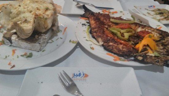 zephere sea food white sause sea food mix and sengari karous fish
