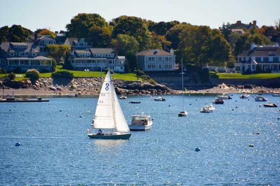 Marblehead, MA: Harbor view from deck of The Landing