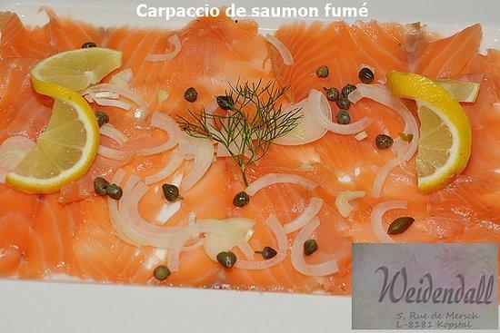 Kopstal, Luxembourg: Carpaccio de saumon fumé maison
