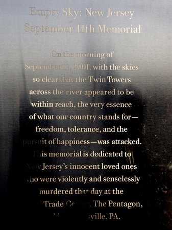 Liberty State Park: 9-11 memorial marker
