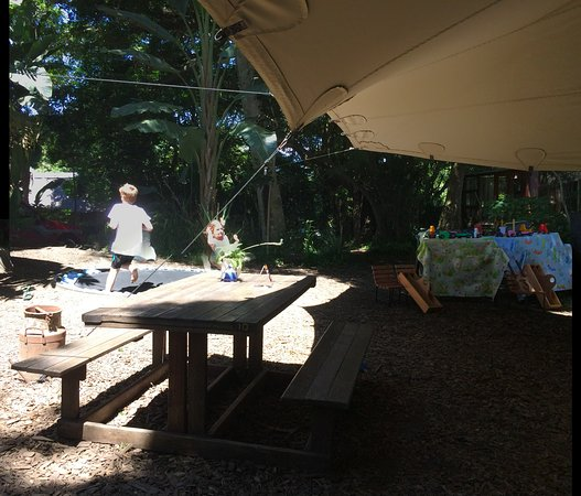 Morgan's Bay, South Africa: Under the tent, view of the trampoline
