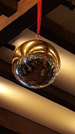 Woodbury, MN: booths reflect in Christmas ornament