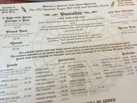 De Leon Springs, فلوريدا: Great menu