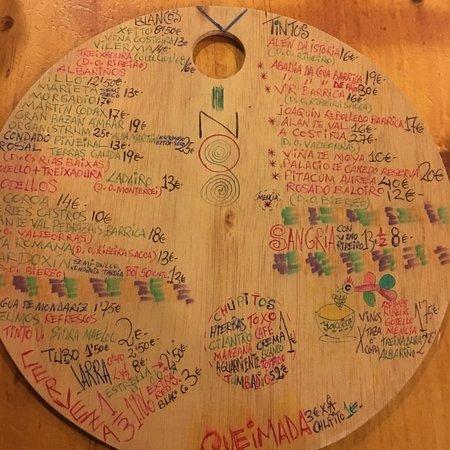 Taberna Maceira: Hand-written menu - back