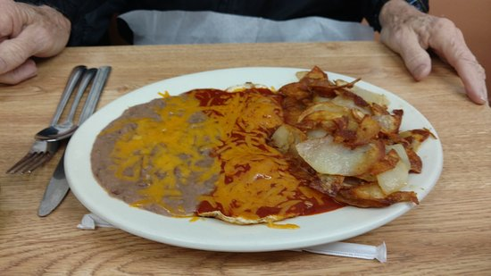 Belen, NM: Huevos rancheros with beans and pepitas