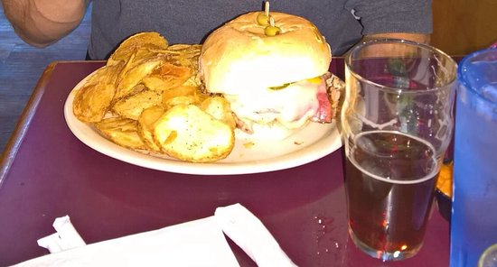 Fat Head's South Side Saloon: Huge sandwich and homemade chips. Holiday beer.