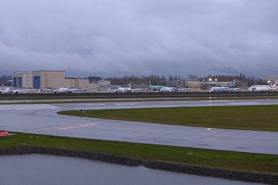 Mukilteo, WA: Another view of the Everett factory and completed airplanes.