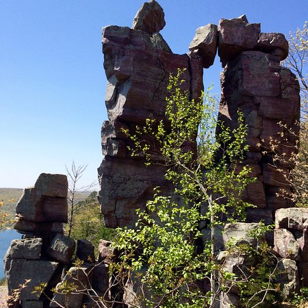 Baraboo, WI: One of the structures you will see at the top of the mountain