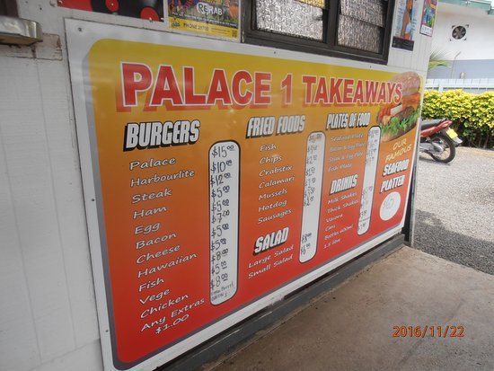 Palace Takeaways: Here's what the rest of the menu looks like.
