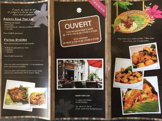 Ganges, Frankrike: Ainsi que la carte qui nous est proposée au restaurant lors du déjeuner!