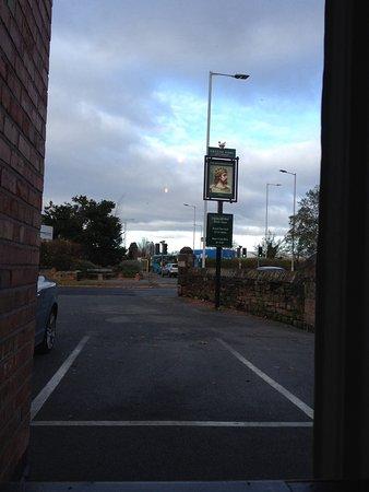 The spacious car park at the Bromborough pub
