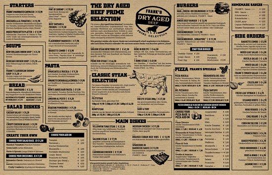 FRANK'S American Bar & Restaurant : Main Menu